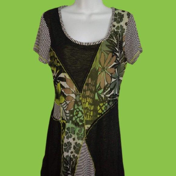 Mixed Media Black Green Dress Size Large